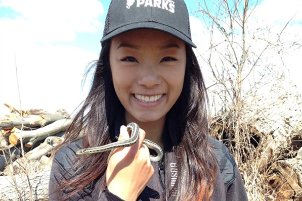 Milwaukee County Parks Natural Areas Employee with Snake