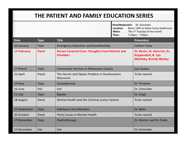 The Patient & Family Education Series presentation schedule