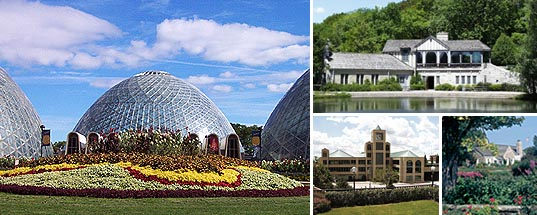 Mitchell Park Domes, Brown Deer Boathouse, Downtown Transit Center, Boerner Botanical Gardens Garden House