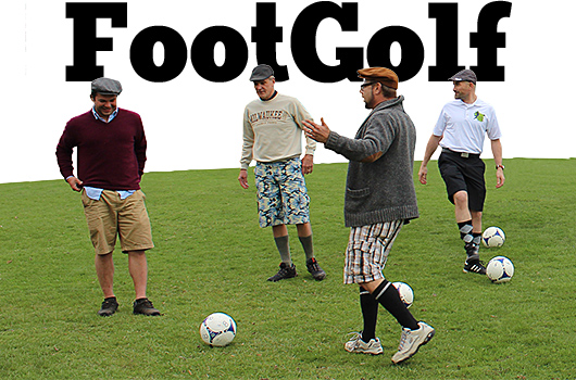 4 men in FootGolf attire--long shorts, long socks, golf cap