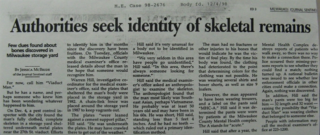 Unidentified People | Milwaukee County Medical Examiner