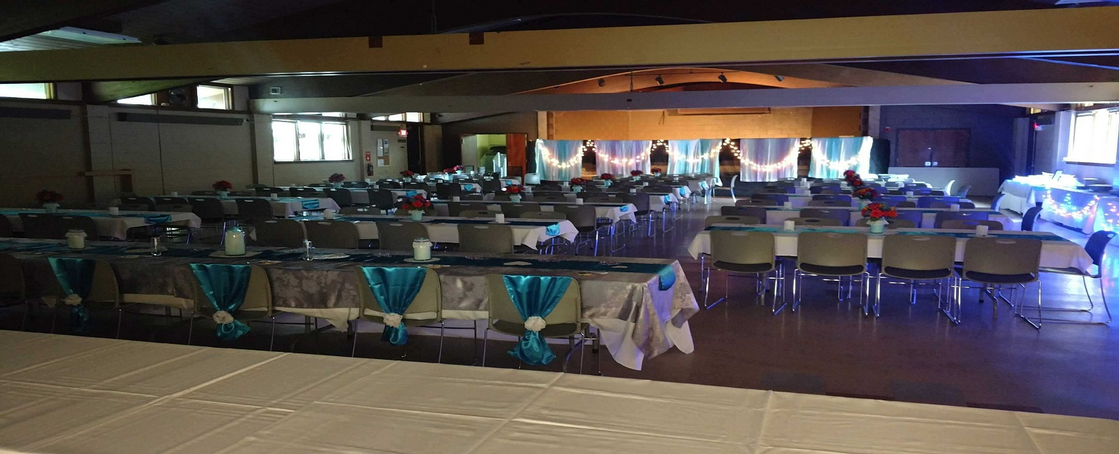 Picture of the hall setup for a wedding reception at Wil-O-Way Grant.