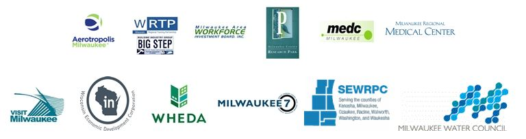 Picture of the logos of the Partners of Economic Development, including: Aerotropolis, WRTP, Milwaukee Area Workforce Development Board, MEDC, Milwaukee Regional Medical Center, Visit Milwaukee, WHEDA, Milwaukee 7, SEWRPC, Milwaukee Water Council
